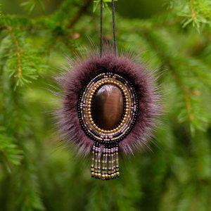подвеска с натуральным камнем Кошачий глаз